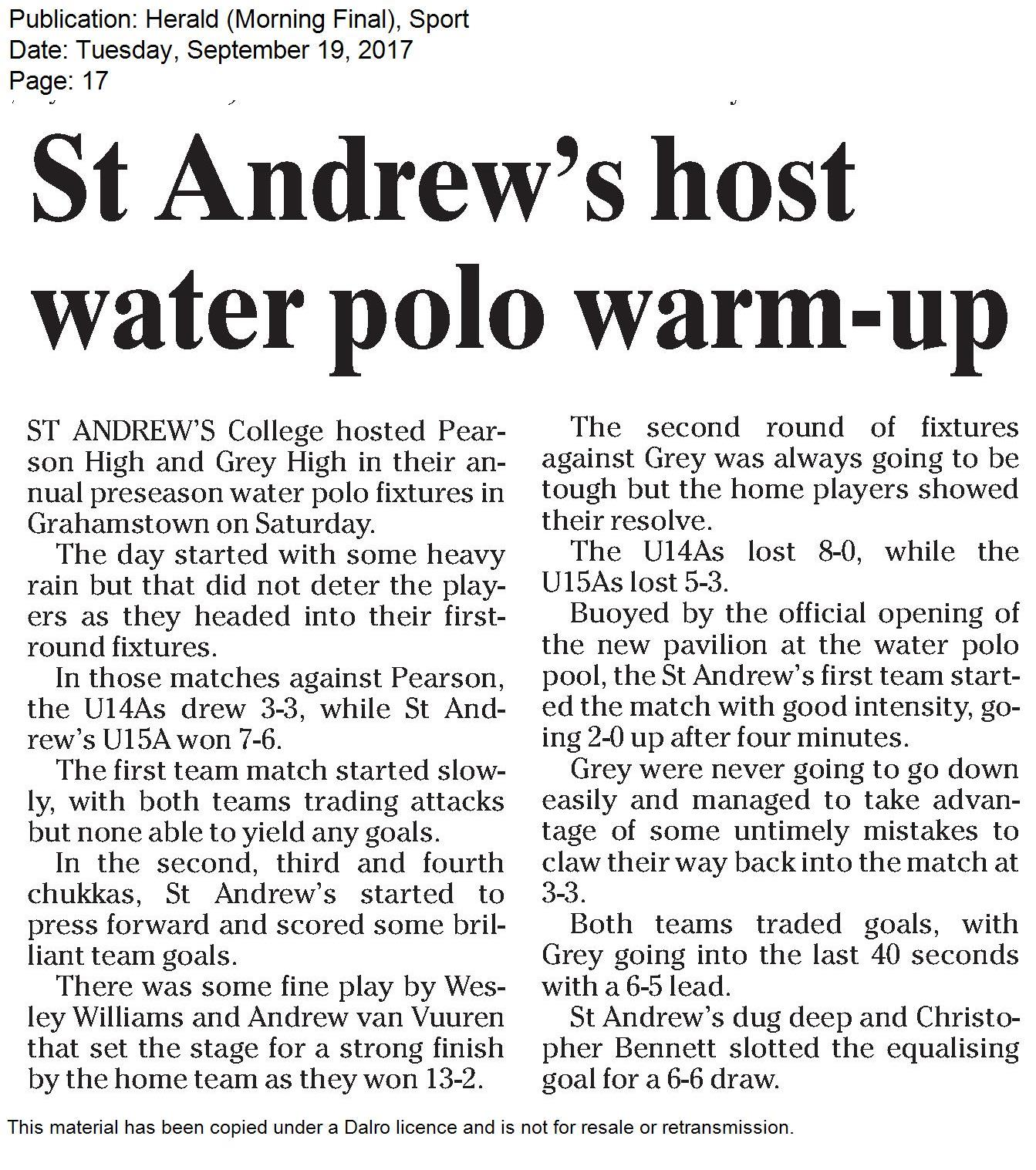 Water Polo warm up vs Grey Pearson