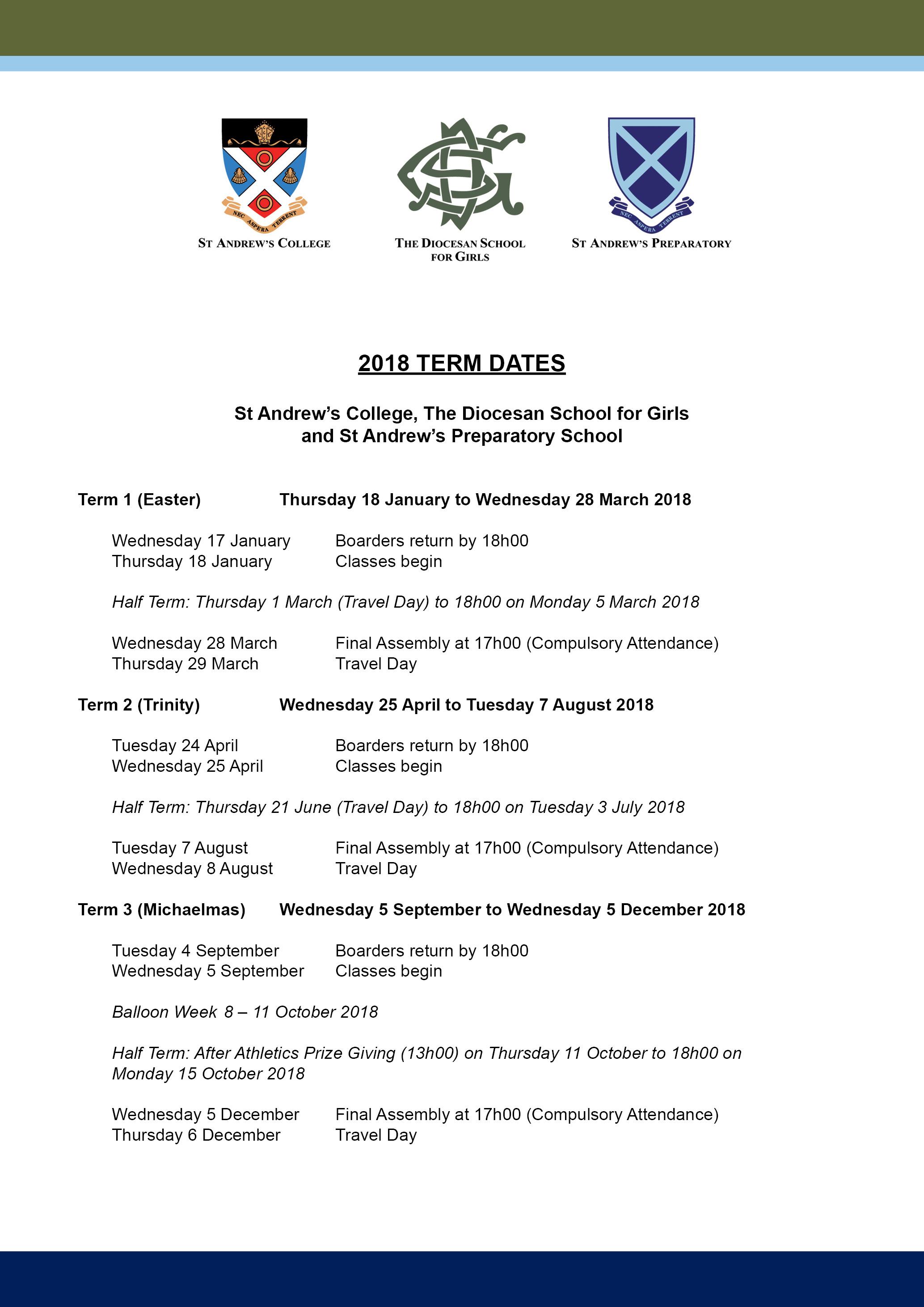 2018 Term Dates (Amended Dec 2017)