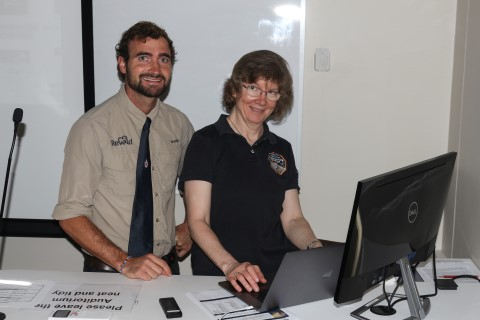 Sam Chevalier (OA 2008, Merriman) from ReWild with Dr Anne Verbiscer, a scientist from NASA.