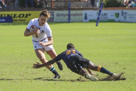 Andrew Coxwell of St Andrew's 1st XV, during The Standard Bank Grey Rugby Festival match between College and Durban High School in Port Elizabeth, Saturday 28 April 2018. St Andrew's won 31-15.