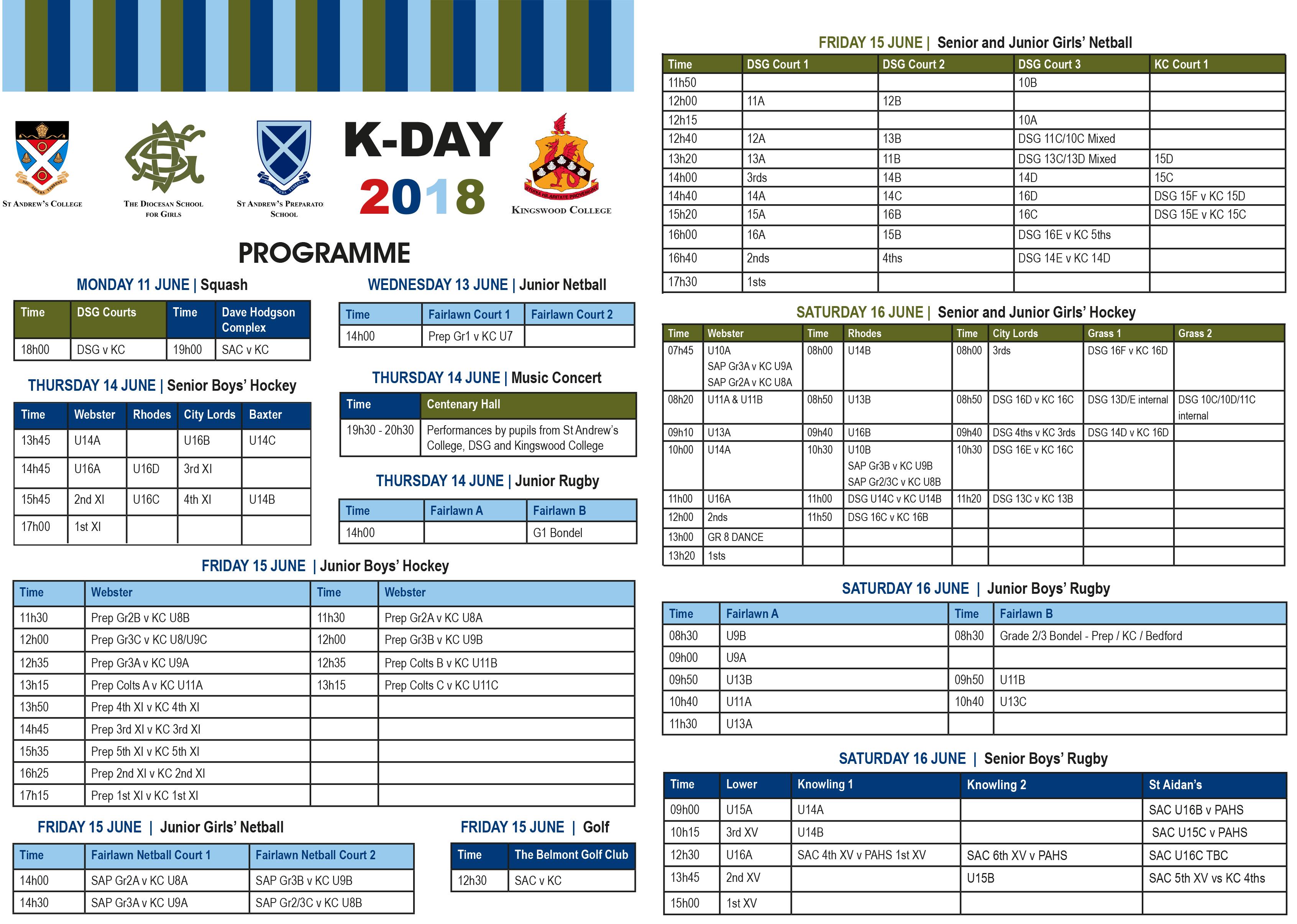 K-Day 2018 Programme Centre Spread