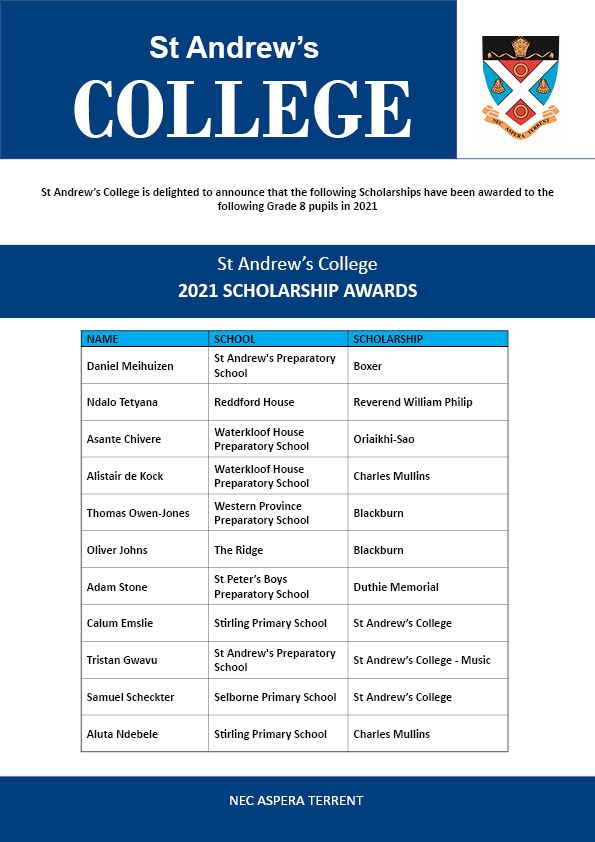 Rhodes College Calendar 2022.Scholarships St Andrew S College